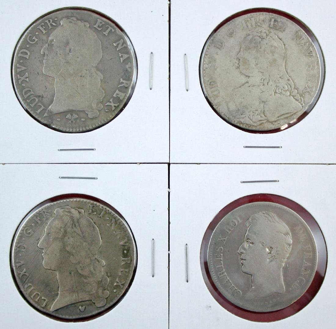 Four French Silver Crowns; 1827-W,1727-A,1767-L,17
