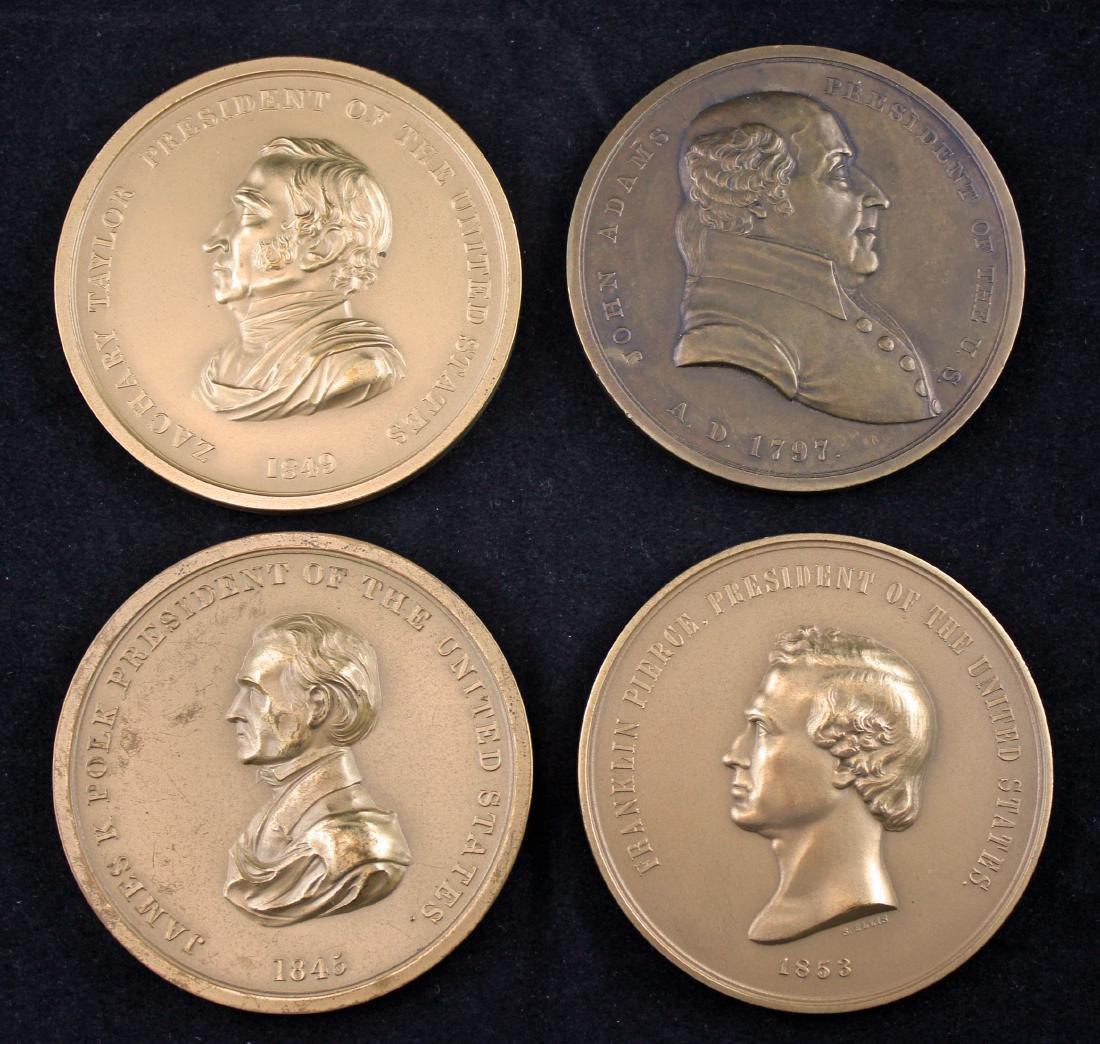 Four U. S. Mint medals; Pierce, Taylor, Polk, Adam