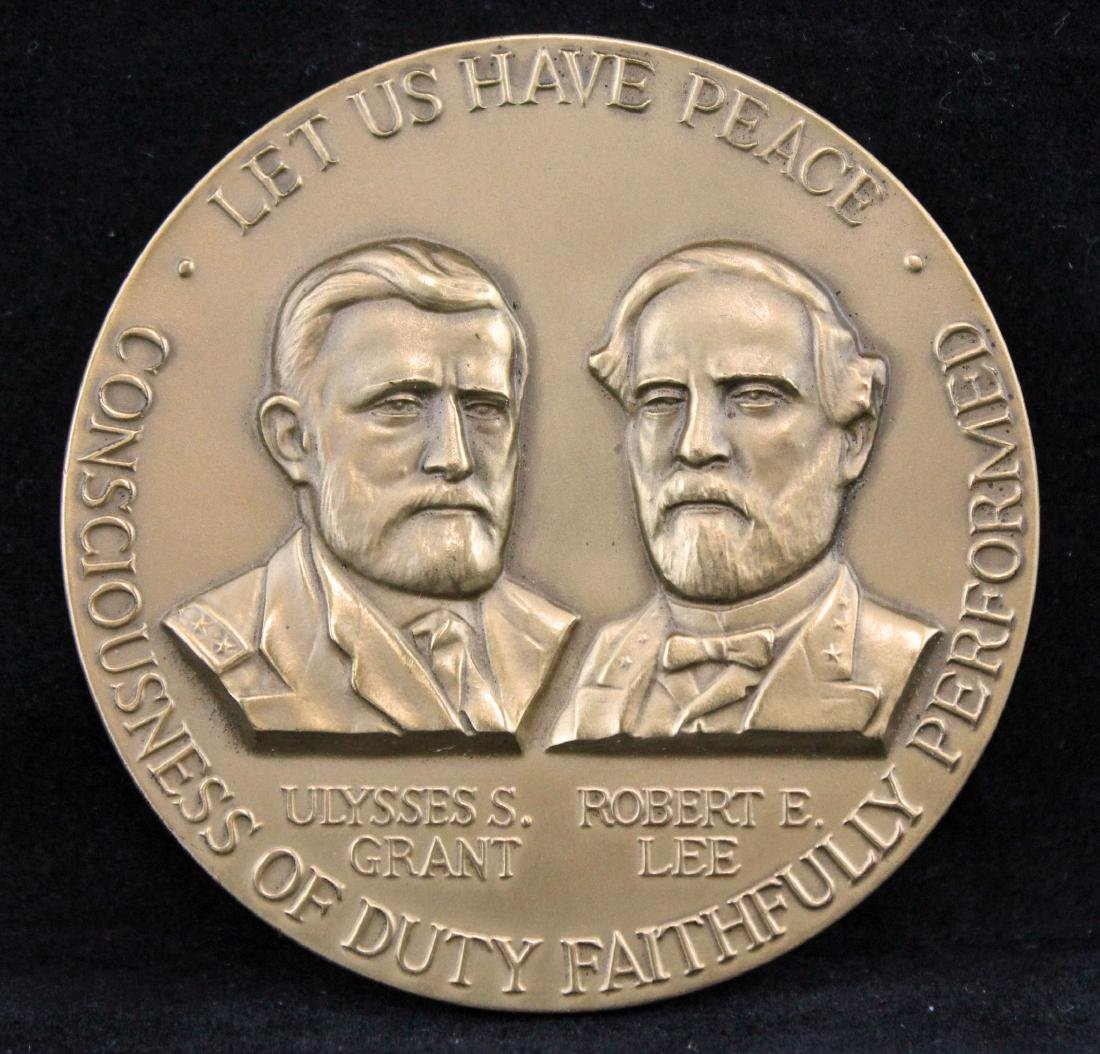 """Grant and Lee """"Let Us Have Peace"""" Bronze Medallion"""