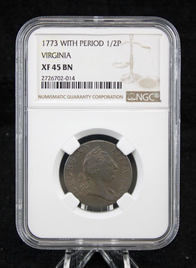 1773 Virginia 1/2 Penny