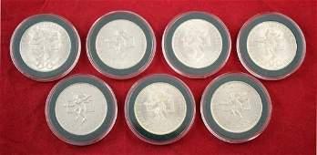 Seven (7) Mexican Silver 25 Peso Coins