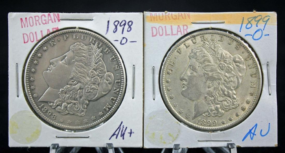 1898 - O and 1899 - O Morgan Silver Dollars