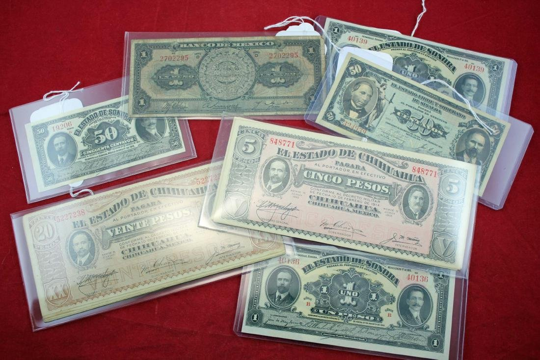 33 Mexico Bank Notes 1913/ 1943, Most Uncirculated
