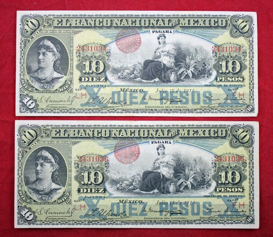 Two 1909 - 1913 Banco Nacional De Mexico 10 Pesos