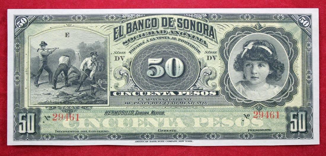 Banco De Sonora, Mexico 1898 - 1911, 50 Pesos