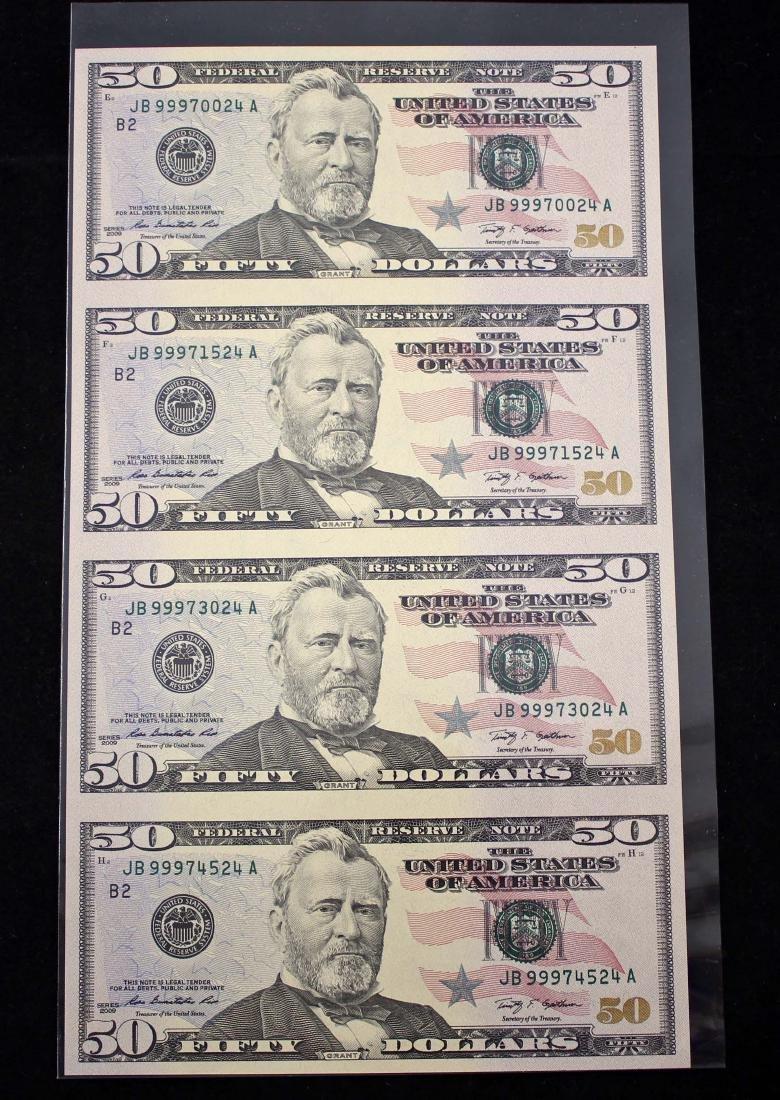Uncut 2009 $50 4 Note Sheet