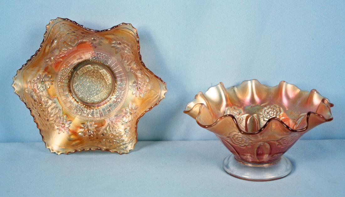 Two Marigold Carnival Glass Ruffled Bowls