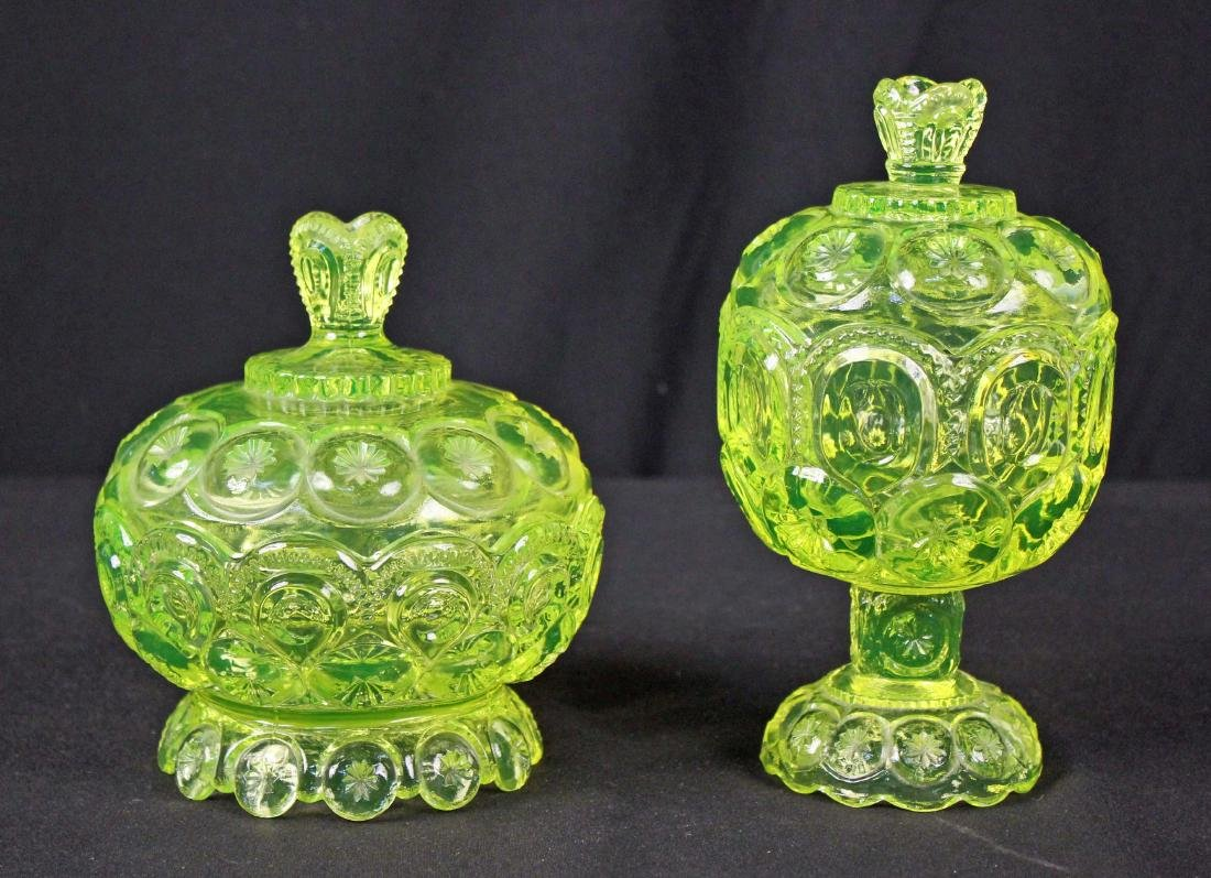 Moon & Stars Vaseline Glass Candy Dish & Compote