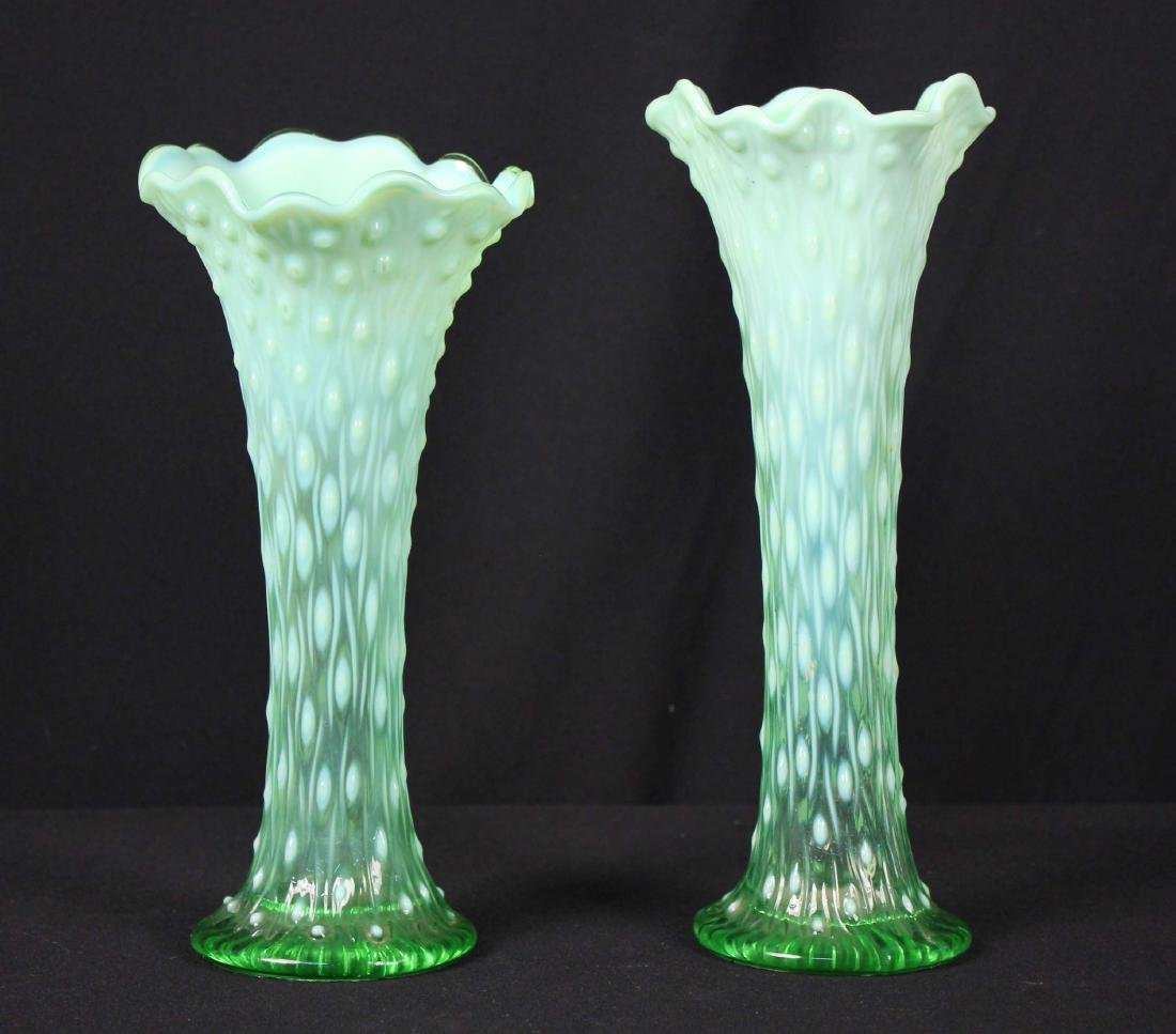 Pair of Northwood Green Opalescent Trunk Vases