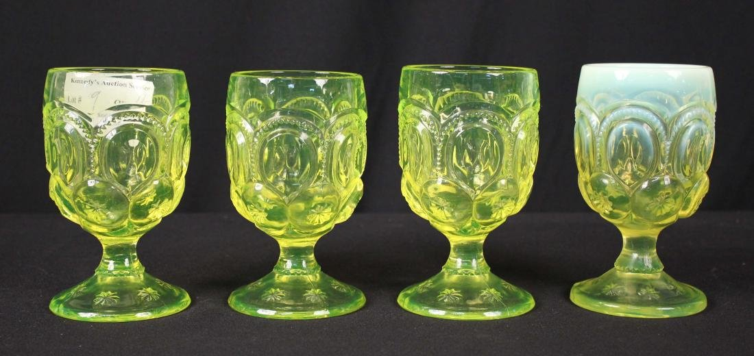 Four Moon & Stars Vaseline Glass Goblets