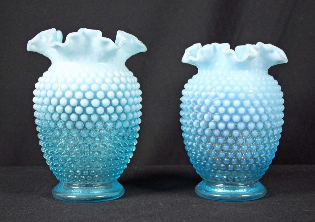 Two Fenton Blue Opalescent Ruffled Vases