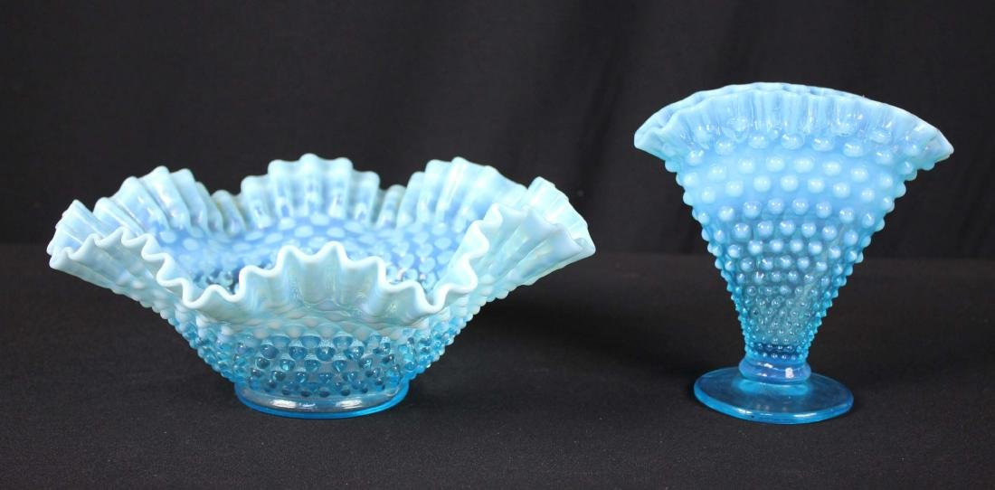 2 Pcs Fenton Blue Opalescent Hobnail Bowl & Vase