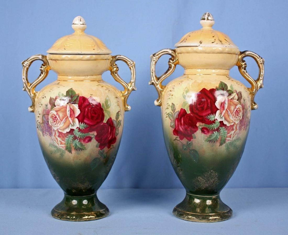 Pair of Irish Capped Urns with Roses Marked Dublin