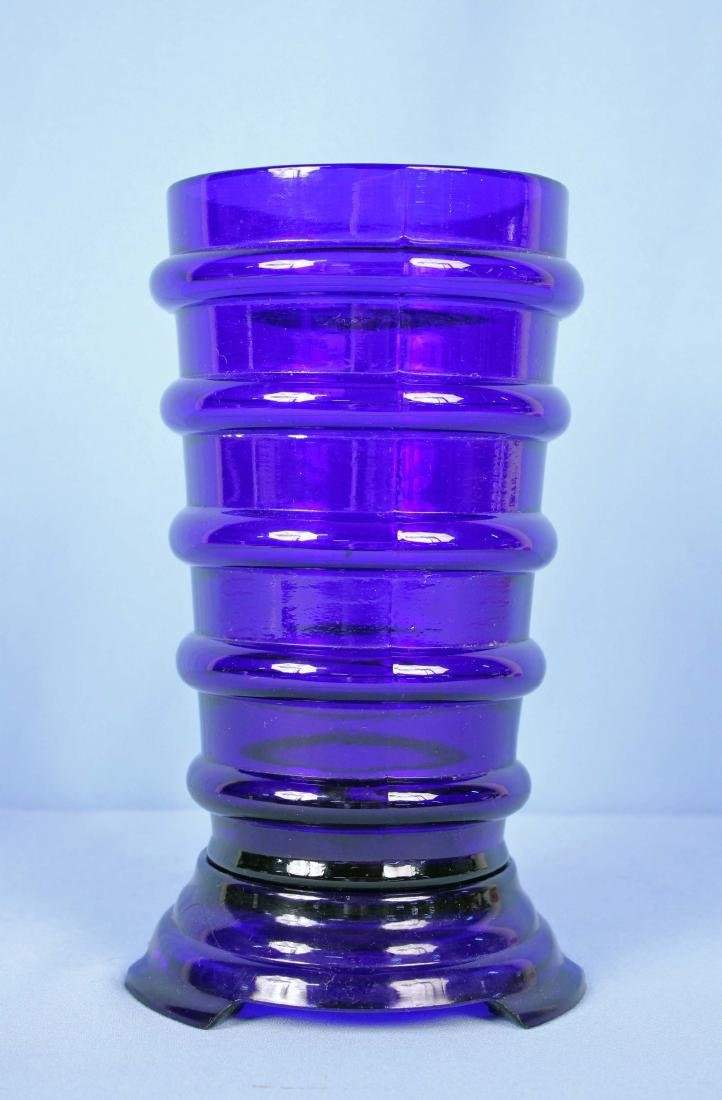 Cobalt Blue Glass Art Deco Ring Vase w/ Stand