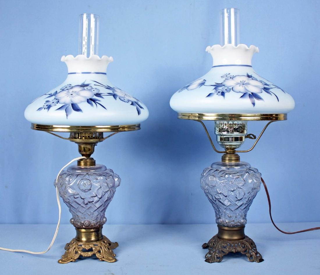 Two Embossed Glass Lamps w/ Hand Painted Shades