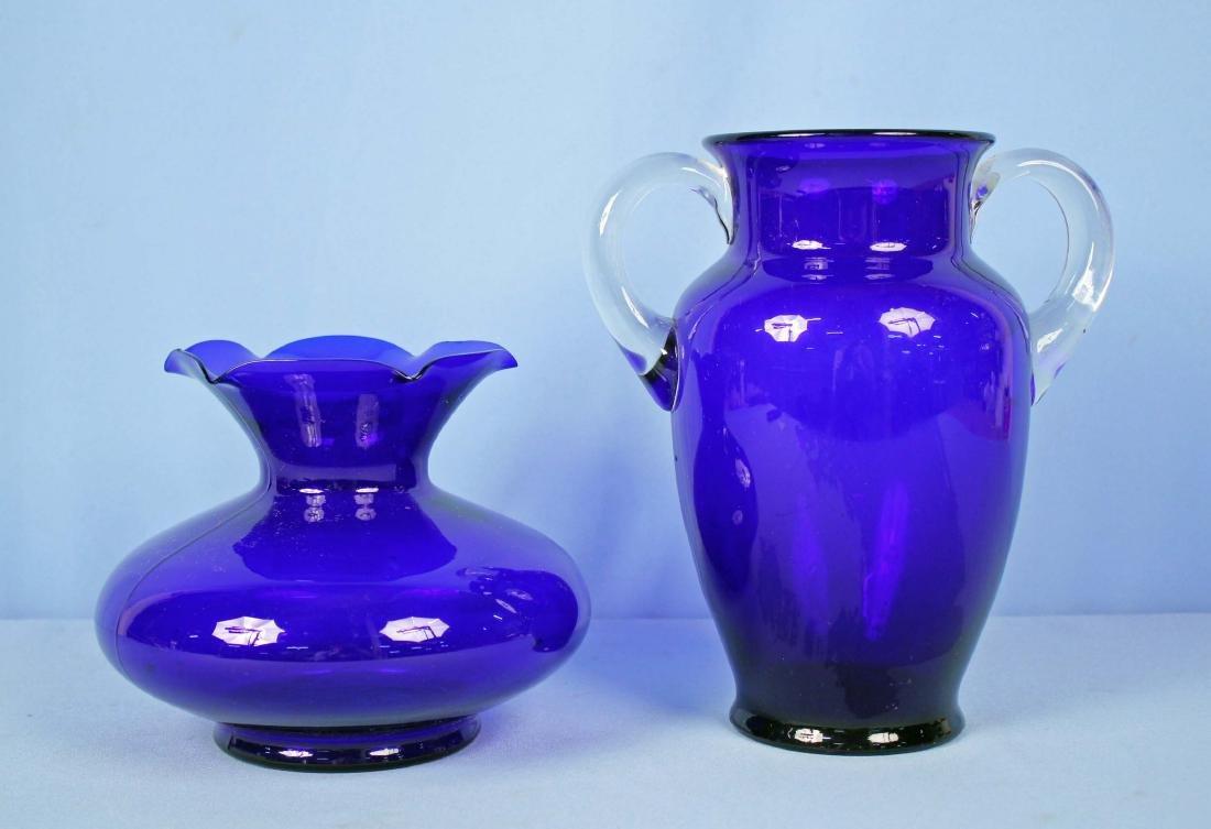 "Two Cobalt Blue Vases 9.75"" & 6.25"" High"
