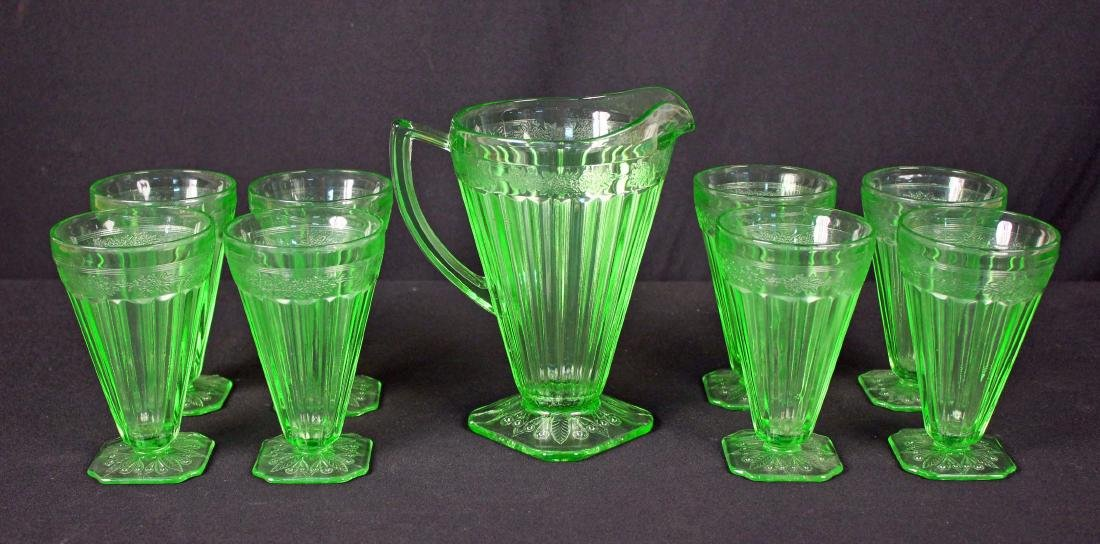Jeannette Glass Adam Green Pitcher & 8 Tumblers