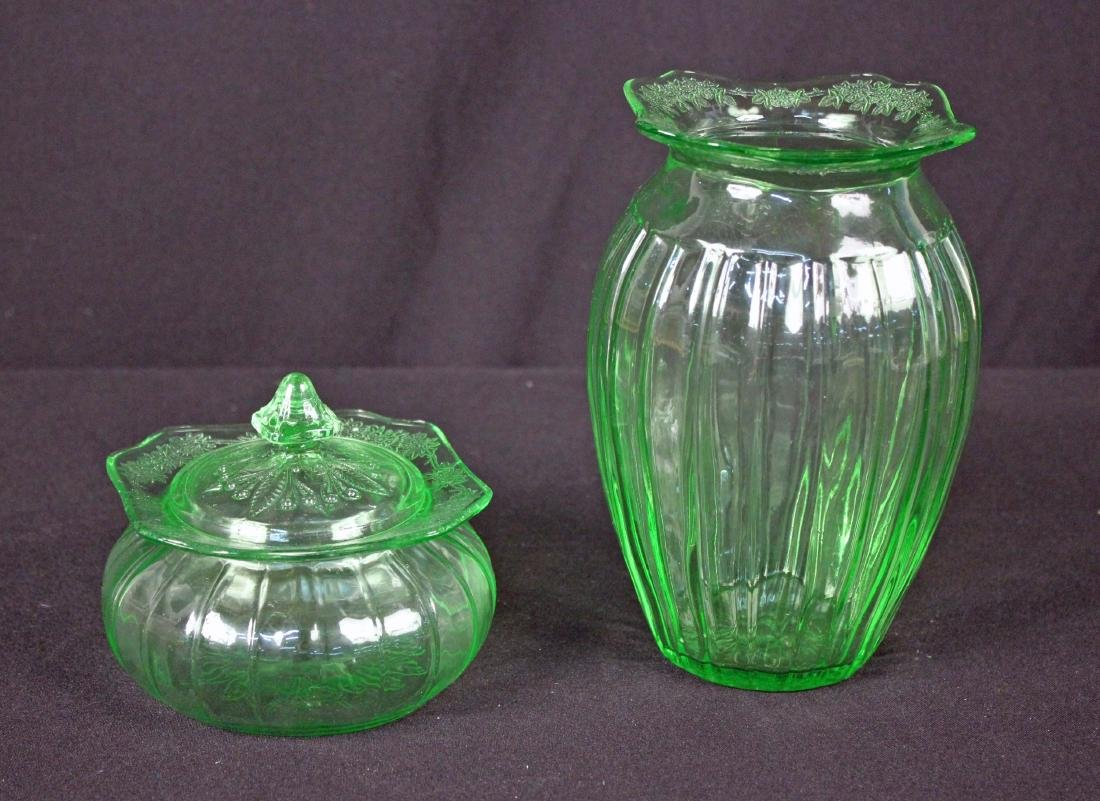 "Jeannette Adam Green 7.5"" Vase and Candy Dish"
