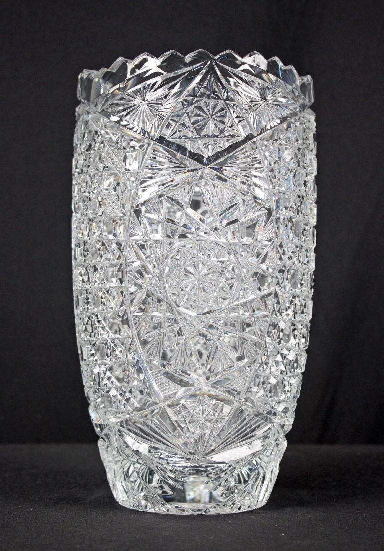 "Large Leaded Crystal Vase 11.75"" H. X 6"" Dia."