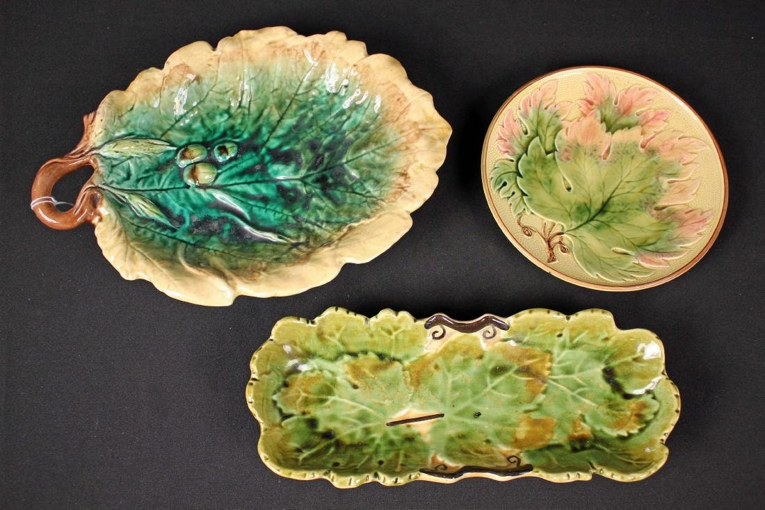 3 Pcs. of Antique Majolica Leaf Bowl, Tray & Plate