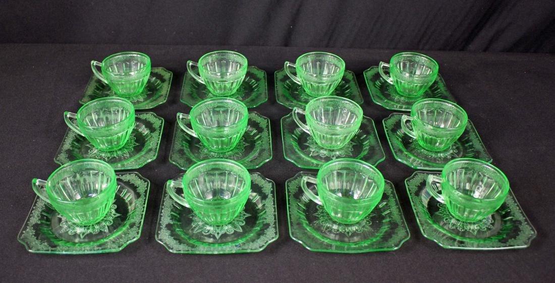 (12) Jeannette Glass Adam Green Cups & Saucers