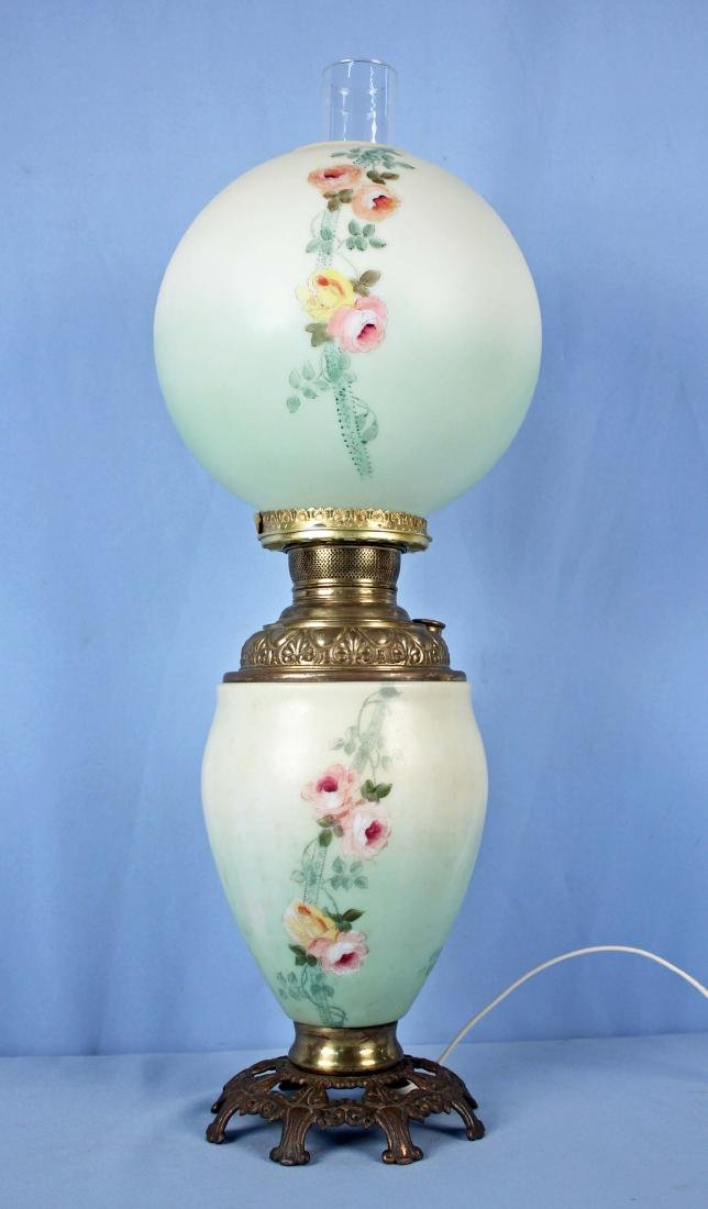 Green Gone With The Wind Hand Painted Lamp
