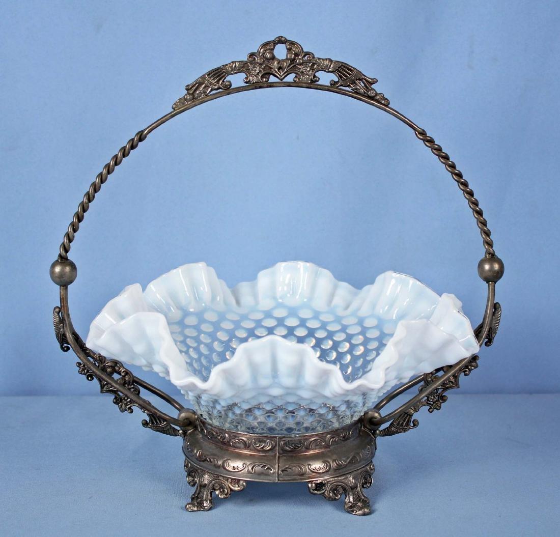 Fenton Opalescent Hobnail Brides Basket