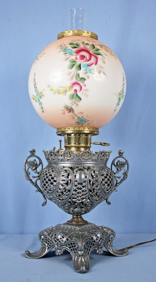 Bradley and Hubbard Pierced Decorated Lamp