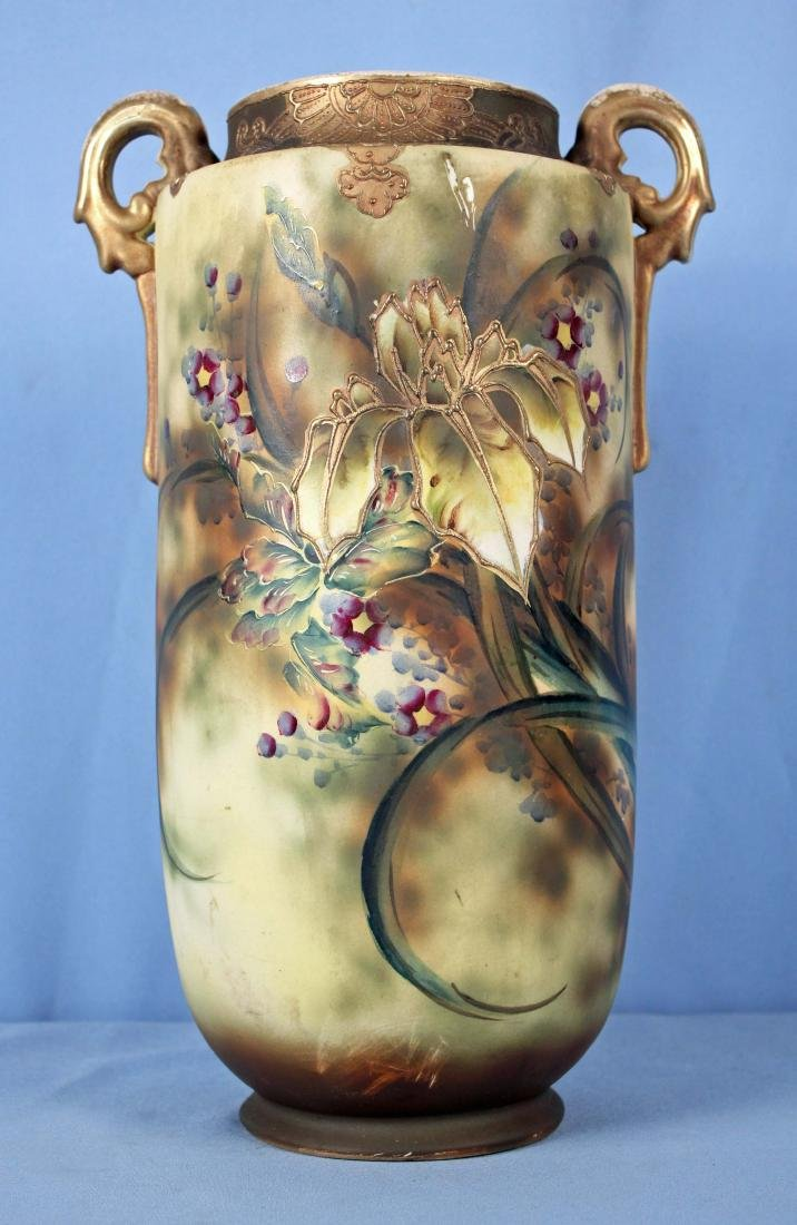 Large Handled Satsuma Vase w/ Hand Painted Flowers