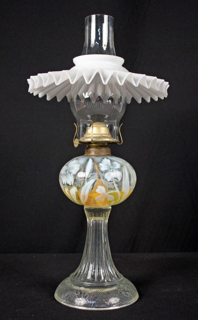 # 2 Oil Lamp w/ Embossed & Opalescent Flowers