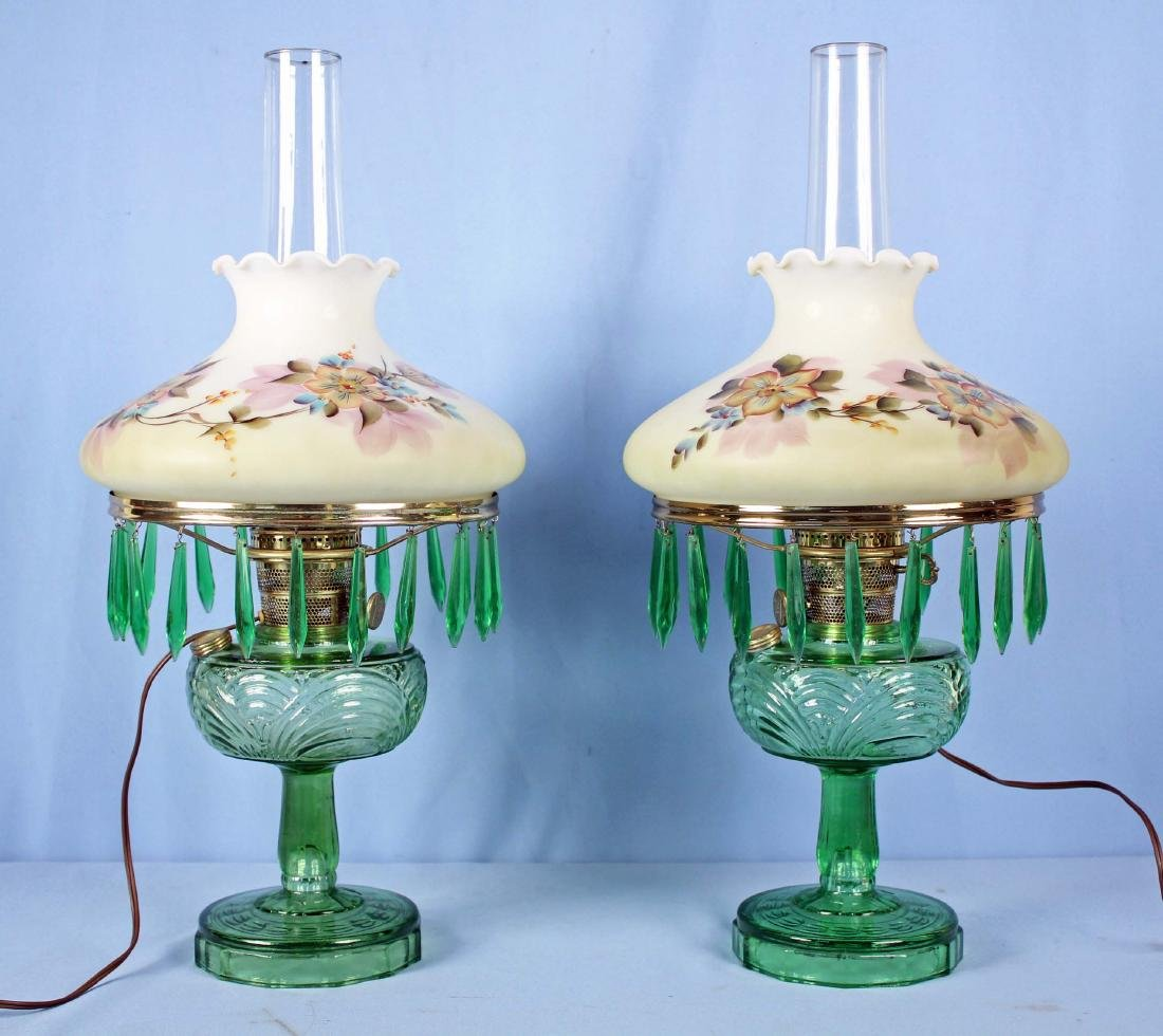 2 Green Aladdin Beehive Lamps, Hand Painted Shades
