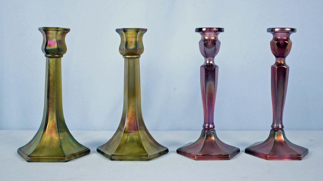 4 Carnival Glass Candlesticks Fenton & Northwood
