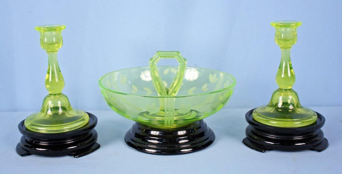 Vaseline Glass Candlesticks & Bowl w/ Black Bases