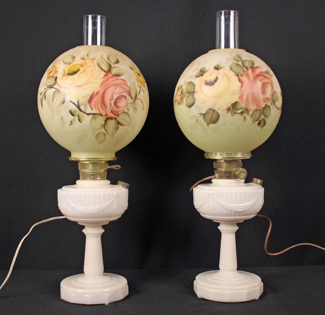 Two Aladdin Lincoln Drape Alacite Glass Lamps
