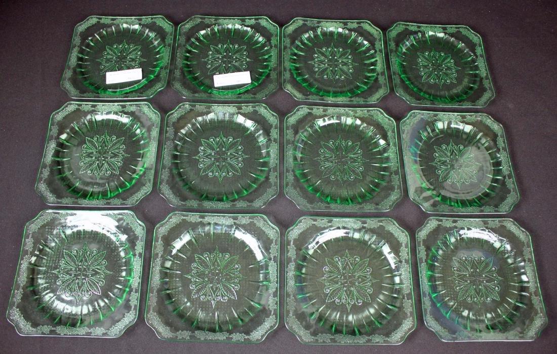 "12 Jeannette Adam Green 7.75"" Salad Plates"
