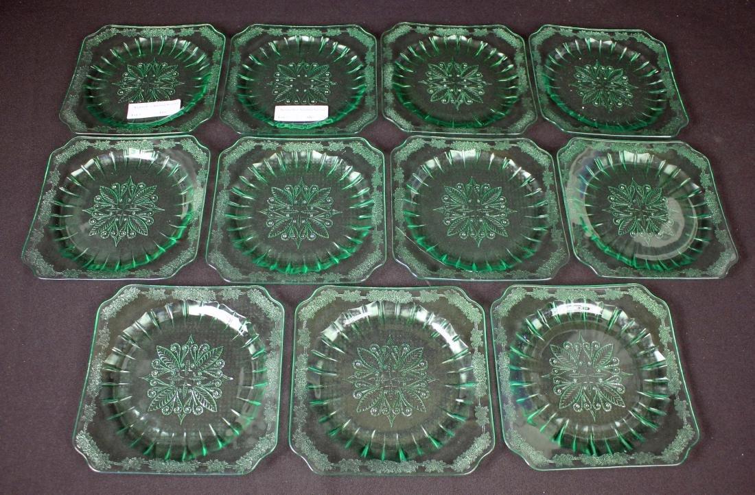 "11 Jeannette Adam Green 7.75"" Salad Plates."