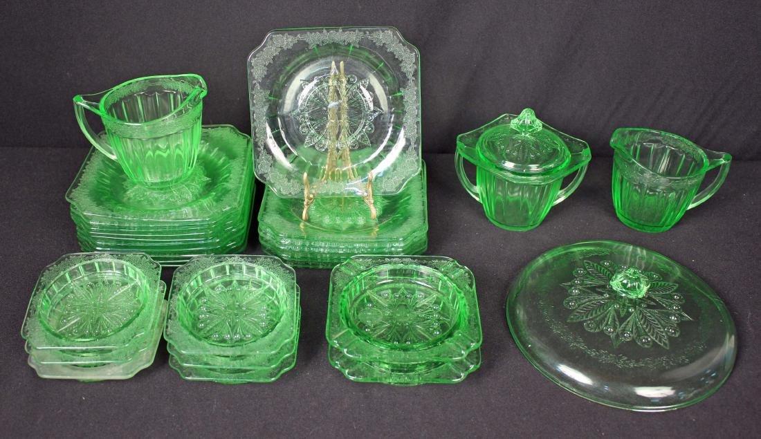 29 Pcs of Jeannette Adam Green Depression Glass