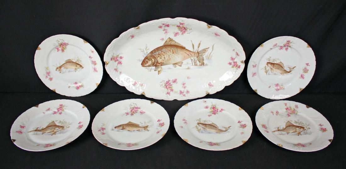 7 Piece Porcelain Fish Set Circa 1890