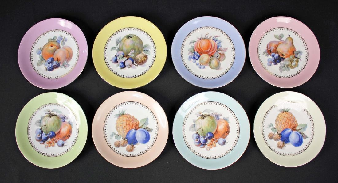 "Eight Hand Painted German Fruit Plates 8"" Dia."