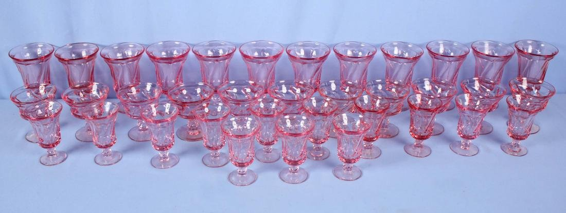 36 Fostoria Jamestown Pink Goblets and Sherbets
