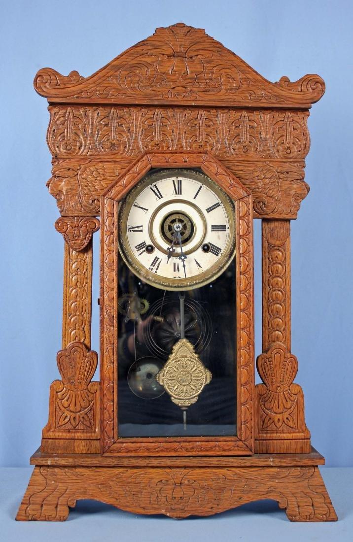 Waterbury Oak Gingerbread  Eight Day Mantle Clock