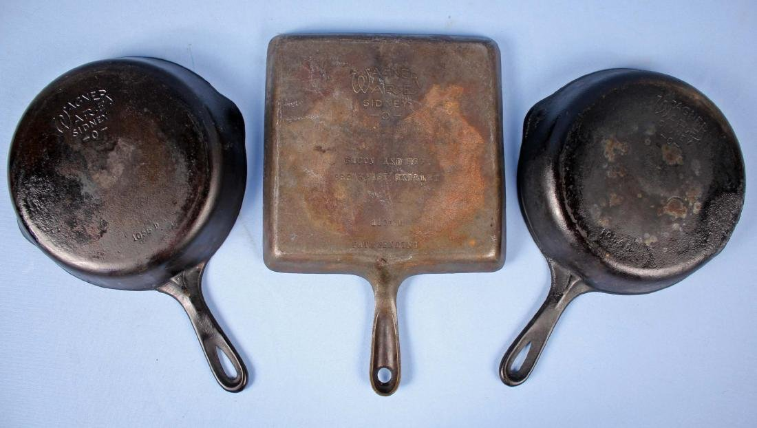Three Wagner Cast Iron Skillets, Incl. Bacon & Egg
