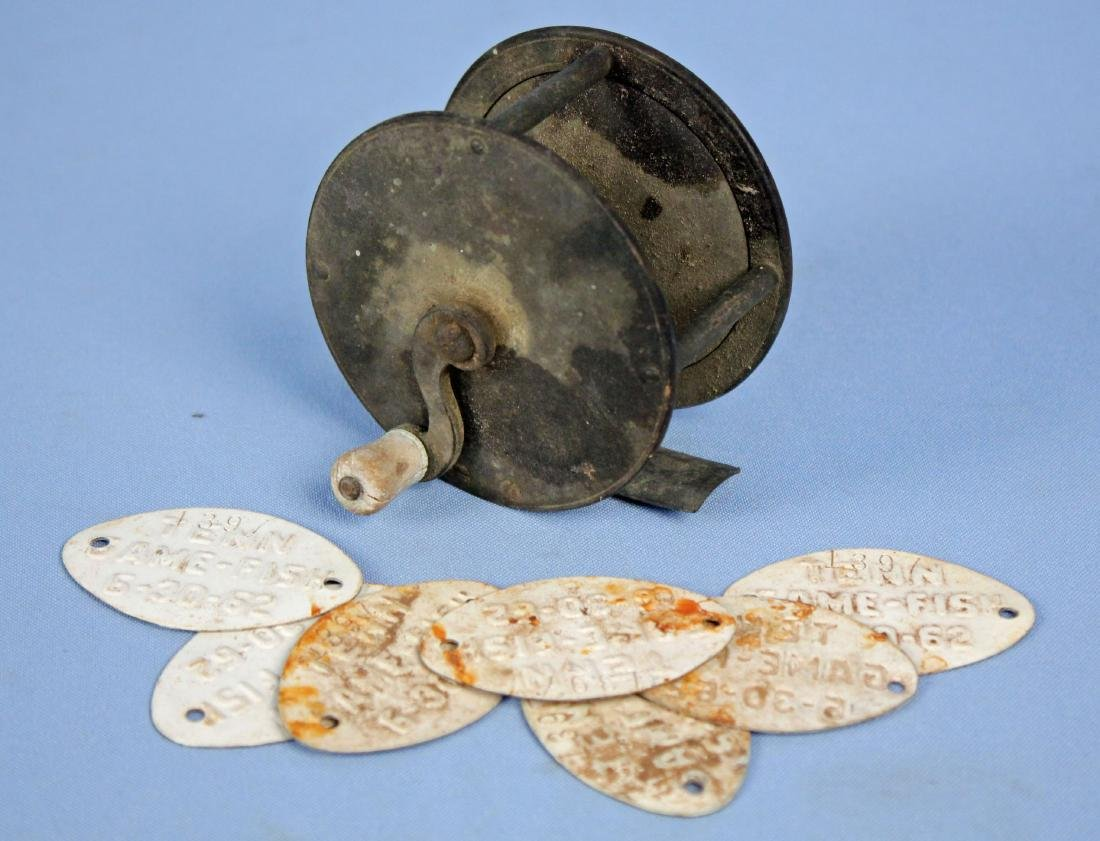 19th C. Reel & 7 TN. Game & Fish Comm. Tags