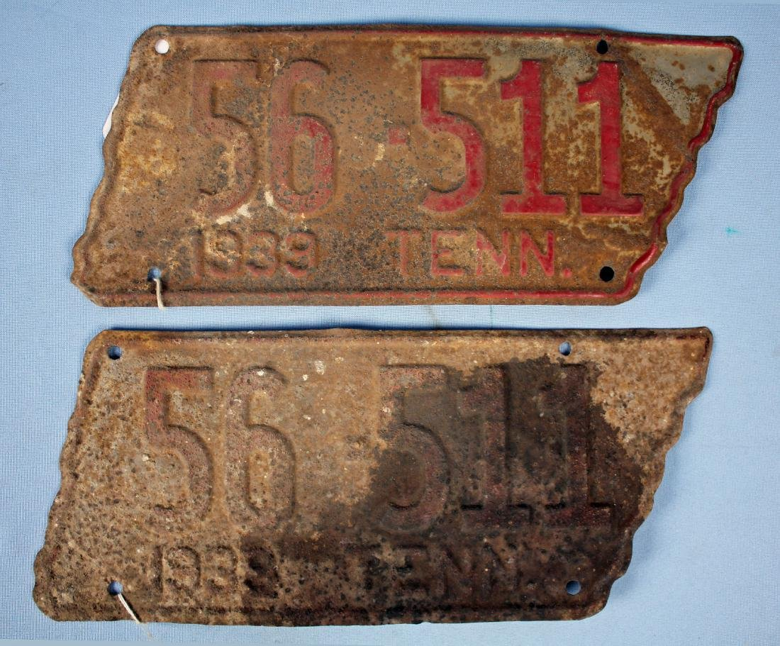 Two 1939 Tennessee License Plates