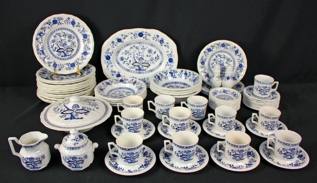 64 Pcs. Kensington Staffordshire Blue Onion China