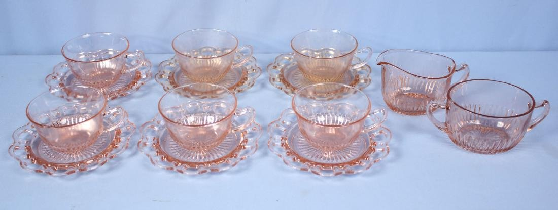 8 Lace Edge Pink Cups & Saucers w/ Creamer & Sugar