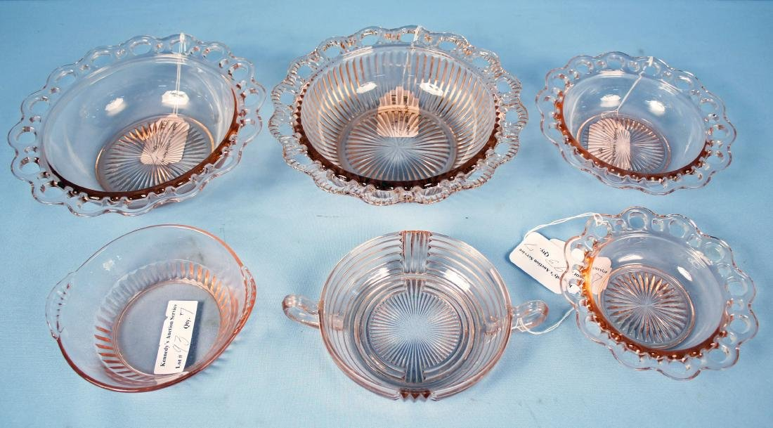 (6)  Pink Depression Glass Bowls