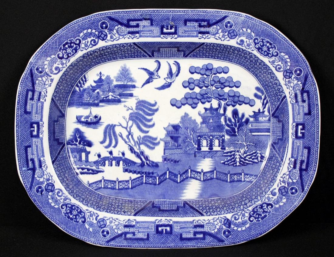 "Staffordshire Blue Willow Platter 13.75"" X 17.5"""