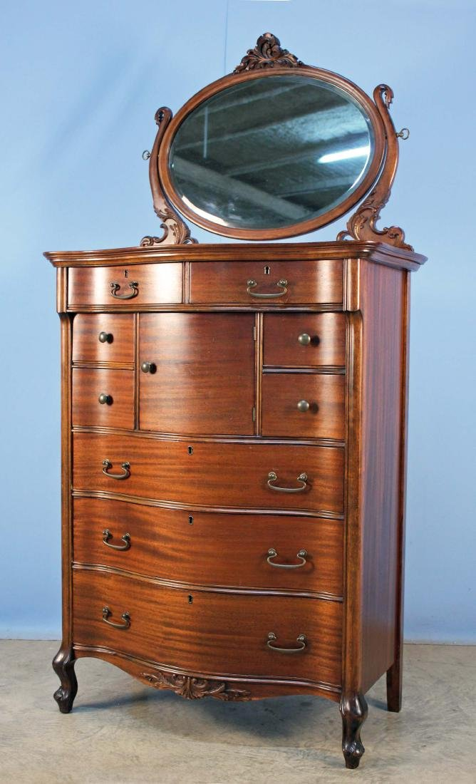 Mahogany Serpentine Chest of Drawers w/ Mirror