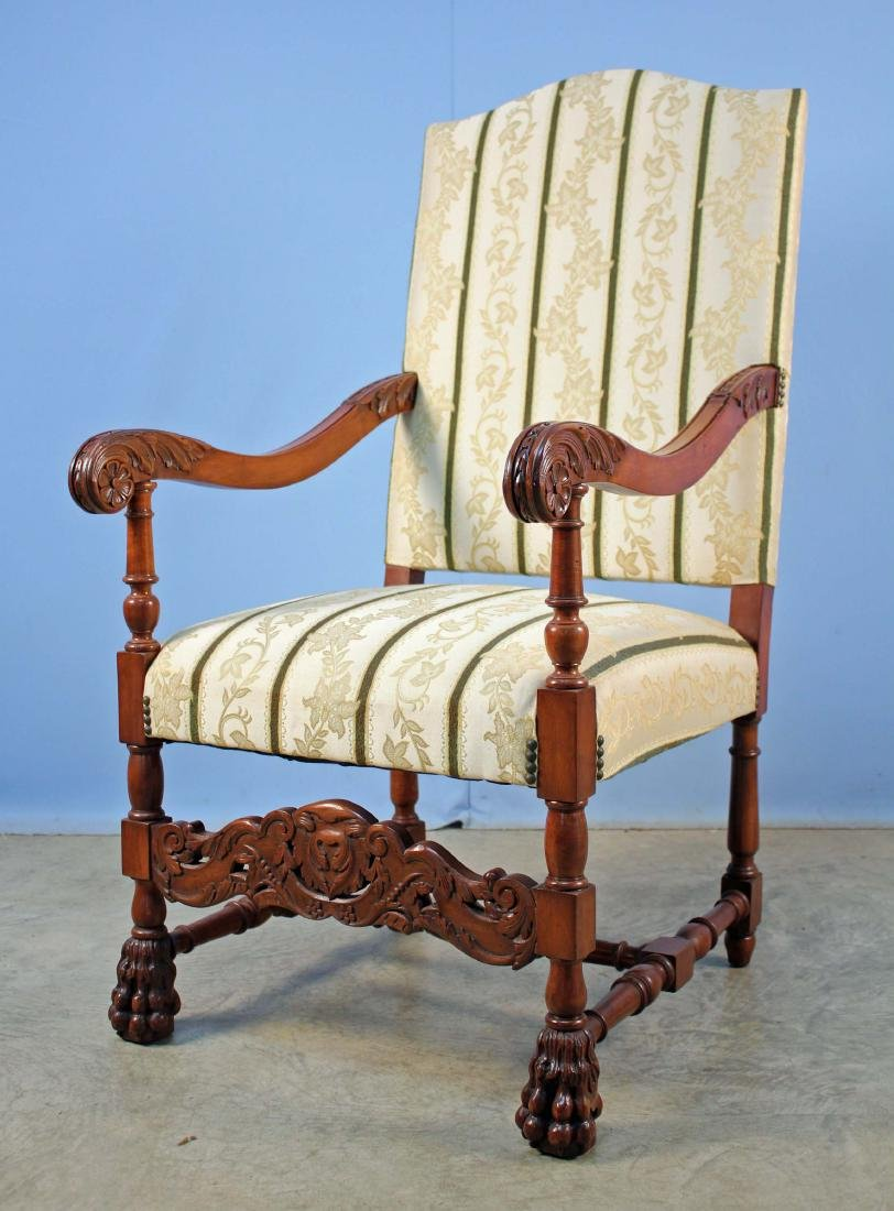 Carved Jacobean Style Arm Chair